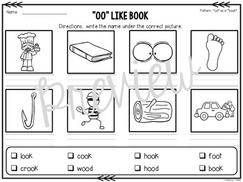 OO & OO Word Work Activities: A Vowel Digraph Unit by