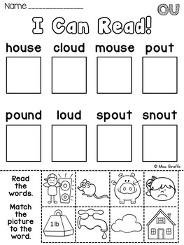 OU and OW Worksheets & Activities {NO PREP!} by Miss
