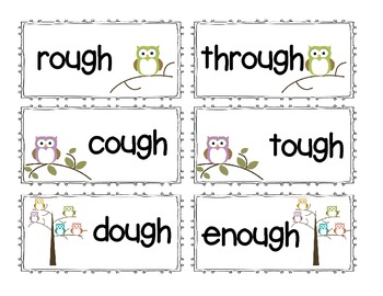 OUGH Word family Phonics Pronounciation sort with