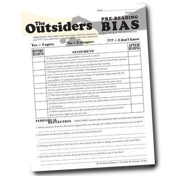 THE OUTSIDERS PreReading Bias Activity by Created for