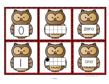owl number cards 0