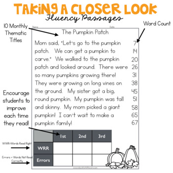 1st Grade Fluency Passages for October by Education to the