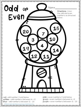 Odd and Even Numbers Hands On Activities, Game, Cut N