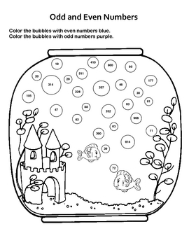 Odd and Even Numbers / Fun Fish Tank Worksheet by Kelly