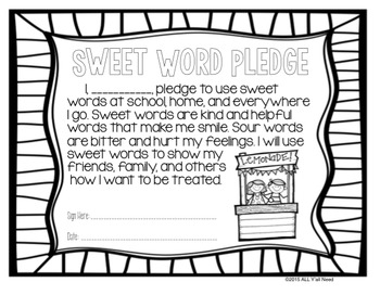 Oh, So Sweet! Using Kind Words in the Classroom by All Y