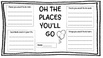 Oh The Places You'll Go Dr Seuss Writing Activity by Kelli