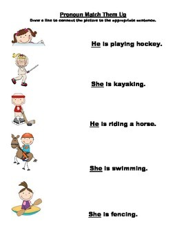 Olympic Pronouns Fun Activities With He And She