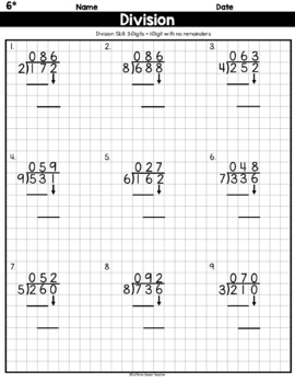 Long Division On Graph Paper: 3 Digits by 1 Digit No