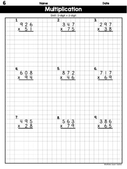 3-Digit Multiplication on Graph Paper Worksheets by