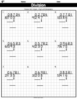 Long Division On Graph Paper: 3 Digits by 1 Digit With