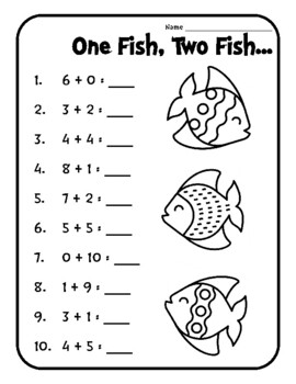 One Fish Two Fish Red Fish Blue Fish Worksheets Seuss