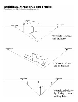 One-Point and Two-Point Perspective Worksheet Packet by