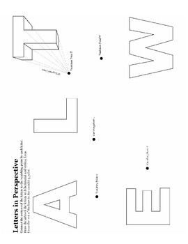 2 Point Perspective Letters : point, perspective, letters, One-Point, Two-Point, Perspective, Worksheet, Packet, Jewels