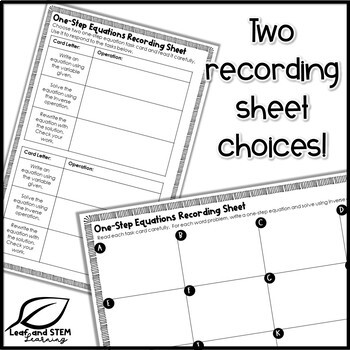 One-Step Equations Word Problems Task Cards by Leaf and