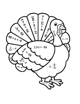 One Step Equations Thanksgiving Turkey by Carson Creations