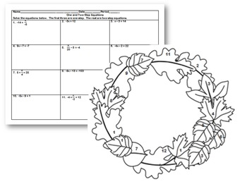 One and Two-Step Equations Fall Coloring Activity by Suzie