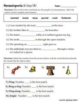 Onomatopoeia It S Easy Free Sample Worksheet By Jacob