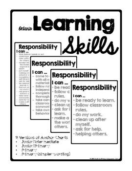 Ontario Learning Skills & Work Habits Anchor Charts/Poster