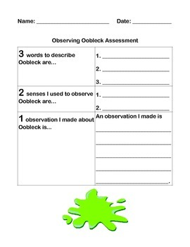 Oobleck Letter Observation Worksheet And Assessment By