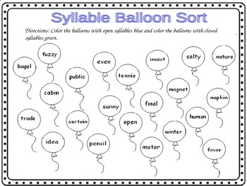 Open Syllables Word Work Worksheets by Robyn's Nest of