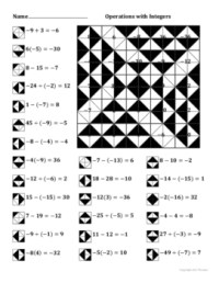 Operations with Integers Color Worksheet by Aric Thomas   TpT