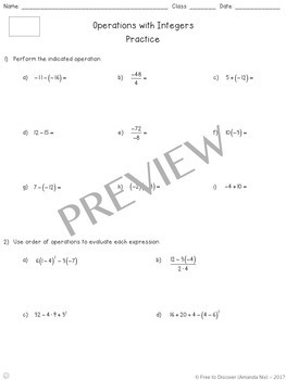 Operations with Integers Notes and Practice