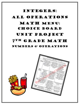 Operations with Integers Project:Choice Board Math Menu 7