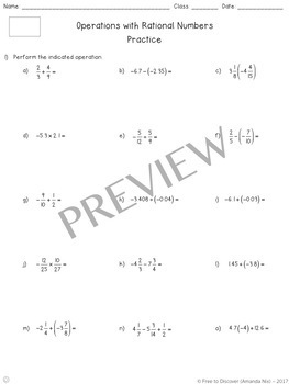 Operations with Rational Numbers Notes and Practice