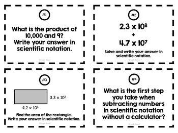 8th Grade Operations with Scientific Notation Task Cards