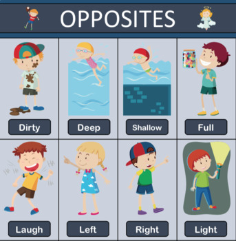opposites adjectives poster flashcards