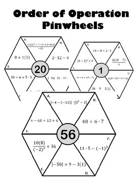 Order of Operation Pinwheels Activity by Math for the