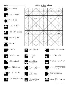 Order of Operations (Advanced) Coloring Worksheet by Aric