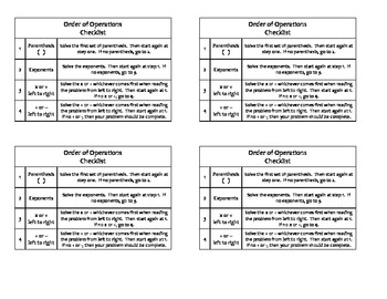 Order Of Operations Checklist By Kelly Ashberger TpT
