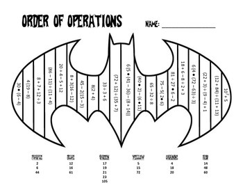 Order of Operations Coloring Sheet by May The Class Be