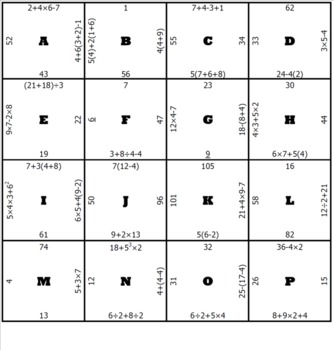 Order of Operations Middle School Math Puzzle by Michael