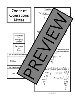 Order of Operations Notes and Examples by Activities by