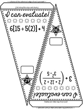 Order of Operations Pennant by Scaffolded Math and Science