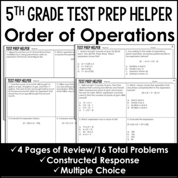 Order of Operations Problems {Common Core Test Prep Helper