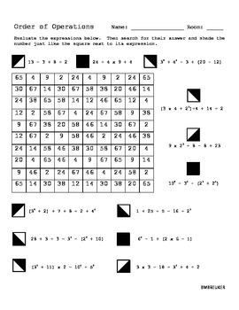 6th Grade  Order Of Operations Worksheets 6th Grade With