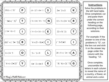 Order of Operations with Integers: Code Breaker by Mary's