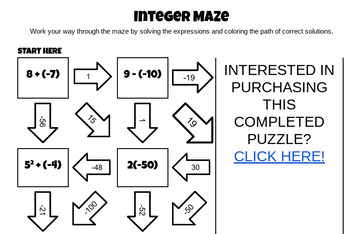 Order of Operations with Integers Maze by Middle School