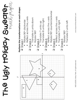 Geometric Transformations Christmas Math Project by
