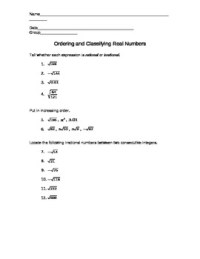 Ordering and Classifying Real Numbers Worksheet by Ashley