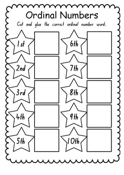 Ordinal Number Word Cut and Paste Worksheet by Danielle