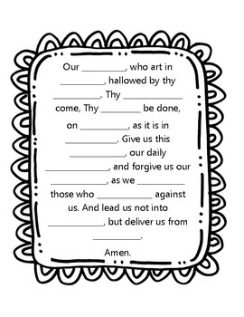 Our Father Prayer Worksheet by Little Miss Catechist Blog