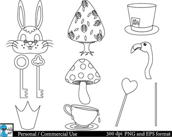 Outline Mad Hatters Tea Party booth Props ClipArt 37