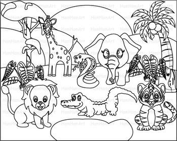 Outline Wild Jungle school Woodland Clip Art zoo line