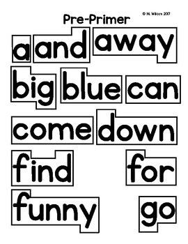 Outlined Word Wall Words Pre-Primer Through Grade Three by