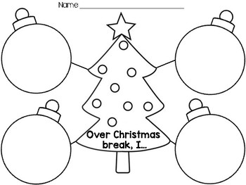 Over Christmas Break Graphic Organizer by Just Kinderin