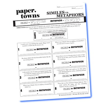 PAPER TOWNS Figurative Language Bundle by Created for